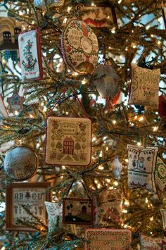 Tennessee Sampler Survey: Decorating with Samplers for Christmas--would love to do this someday!