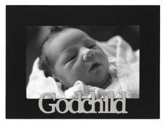 Malden International Designs Baby Memories Godchild Black Wood Picture Frame, 4x6, Black