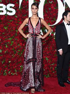 Statuesque: Joan Smalls stunned on the red carpet at the Tony Awards in New York on Sunday
