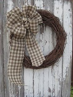 The Gingham Burlap Bow in Brown and Cream