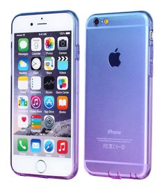 iPhone 6 Case, iPhone 6 Cover Colorful Clear Shell Slim Case Translucent Impact Resistant Flexible TPU Soft Bumper Case Protective Shell for Apple iPhone 6 4.7 inch(Blue&Purple)