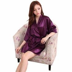 RB033  2016 Pink Striped Women Satin Robes Bathrobe Sexy Charming Kimono Pink Temptation Lingerie Sleepwear Bridesmaid Robe