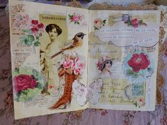 Vintage, teacups, roses.   Wonderful idea for a vintage shabby chic art journal.