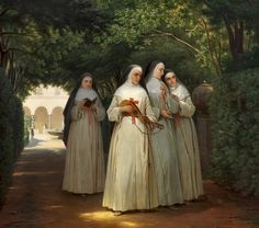 """[New] The 10 Best Home Decor Today (with Pictures) - """"Nuns walking in a cloister garden in Rome"""" circa 1866 by Danish artist Jorgen Valentin Sonne. Catholic Religion, Catholic Art, Roman Catholic, Religious Art, Nuns Habits, Bride Of Christ, Blessed Mother, Sacred Art, Christian Art"""