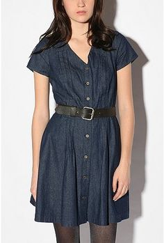Cooperative Pintuck Button-Front Dress from Urban Outfitters Moda Denim 473c6ef6915