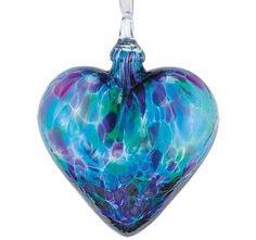 Hand Blown Blue Mosaic Glass Heart Ornament by Glass Eye Studio   Seattle, Washington
