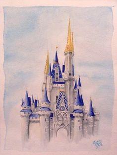 cinderella's castle art - Google Search Disney Castle Drawing, Disney Castle Tattoo, Disney Drawings, Castle Mural, Castle Painting, Cat Castle, Watercolor Disney, Watercolor Art, Disney Sleeve