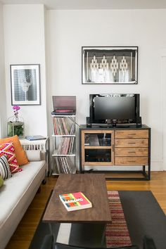 eclectic living room // media stand