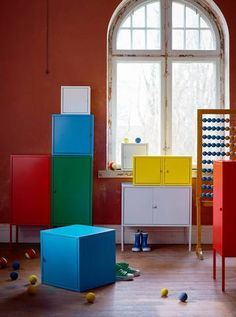 use the white cabinet to store toiletries in bedroom, behind bathroom door // new ikea 2017 catalog colorful cabinets