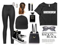 """""""Back in Black"""" by wearyourdissent ❤ liked on Polyvore featuring Ray-Ban, Armani Jeans, Converse, John Hardy, H&M, WithChic, L. Erickson, Chanel, Marc Jacobs and feminist"""