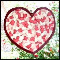 Suncatcher Heart Craft. Try adding textures for a suncatcher that is as fun to feel as it is to look at!