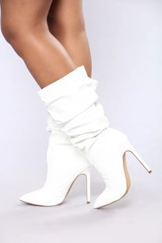 White Heel Boots, Thigh High Boots Heels, White Heels, Sexy Boots, Cool Boots, Knee Boots, Heeled Boots, Bootie Boots, Top Shoes