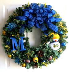 University of Michigan Christmas Wreath  U by WeddingsAndWreaths, .