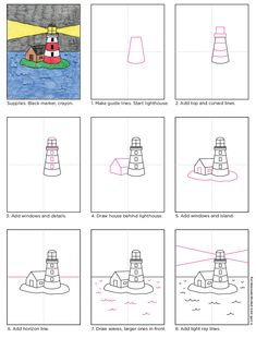 How to Draw a Lighthouse · Art Projects for Kids Here's how to draw a simple lighthouse on an island. Plenty of room to add some fun ships in the surrounding water. Art Drawings For Kids, Doodle Drawings, Easy Drawings, Art For Kids, Basic Drawing For Kids, Lighthouse Drawing, Lighthouse Art, Drawing Lessons, Art Lessons