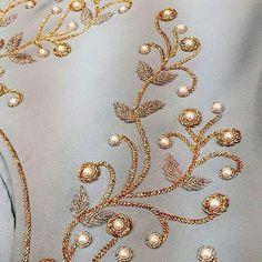 No photo description available. Zardosi Embroidery, Pearl Embroidery, Hand Embroidery Dress, Kurti Embroidery Design, Hand Embroidery Videos, Bead Embroidery Patterns, Couture Embroidery, Bead Embroidery Jewelry, Embroidery Fashion