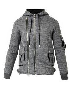 Balmain Hooded melange-jersey sweatshirt