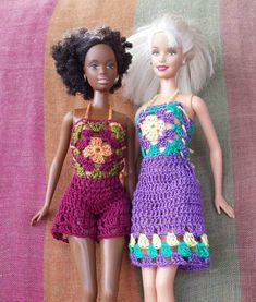 Barbie doll crochet pattern colorful granny square dress and