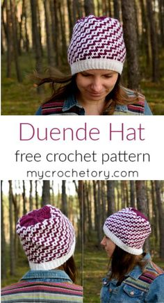 The cold winter is here, and to help you stay warm all season long allow me to introduce you my new crochet pattern: the Duende Hat. I hope you will like my mosaic crochet hat pattern and will proudly wear it, or give . Crochet Cap, Single Crochet Stitch, Crochet Round, Crochet Scarves, Double Crochet, Free Crochet, Crochet Beanie, Crochet Clothes, Knitting Patterns