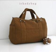 SALE - Cognac Brown - Mini Duffel Bag / Canvas / Handbag / Cross body / Messenger / Shoulder bag / Travel / Men - Duffy on Etsy, Sold
