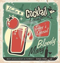 Retro cocktail lounge vector poster design by Lukeruk, via Dreamstime