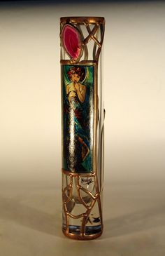 """8.66"""" x 1.6"""" (220 mm x 40 mm) Massive, glass, bright, hand-painted decorative vase, product of Czech glass factories. Precise copy of Mucha's artwork. Special glass paints and their fusing on the surface of glass in kiln guarantee durable and everlasting quality of each copy."""
