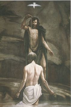 Holy Spirit | Jesus getting baptized and Holy Spirit, in the form of a dove,