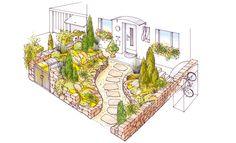 7 schöne Vorgärten Landscape Sketch, Landscape Design, Garden Design, Flower Beds, Outdoor Spaces, Planting Flowers, Lawn, Architecture, Drawings