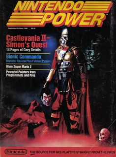"""Cover of Nintendo Power in September / October of featuring """"Castlevania II: Simon's Quest,"""" which had been released by Konami that year for the Nintendo Entertainment System Vintage Video Games, Retro Video Games, Video Game Art, Retro Games, Video Game Magazines, Gaming Magazines, Nintendo 64, Nintendo Switch, Castlevania"""