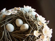 Fondant Bird Nest with Speckled Eggs by crystalernst, via Flickr