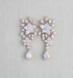 Rose gold earrings, Wedding earrings, Bridal earrings, Crystal earrings, Bridal jewelry, CZ earrings, Statement earrings, Bridesmaid, LILY by treasures570 on Etsy