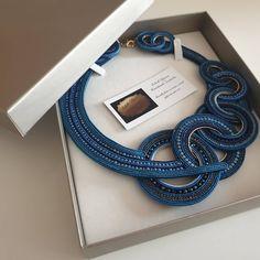 Soutache Necklace, Earrings, Shibori, Jewels, Elegant, Bracelets, Makeup, Handmade, Blue