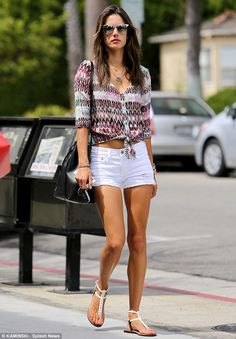 Alessandra Ambrosio spotted in Gypsy05's Rhea Printed Silk Voile Tie Top