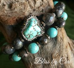 Turquoise & Labradorite Beaded Stretch Bracelet Duo  *FREE SHIPPING* by BlissbyCori on Etsy