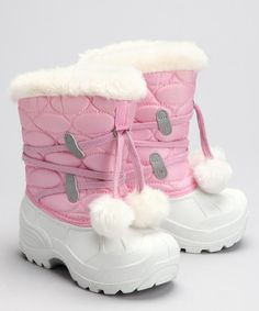 {Roc-A-Bouts Pink Aurora Boot by Snowflake Savvy} Cute puff balls...