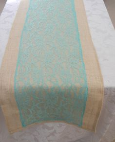 Burlap Table Runner With Aqua Lace, Wedding, Party, Home Decor, Custom Size