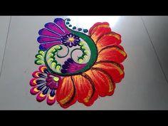 Attractive unique colourful rangoli design made by Jyoti Raut Rangoli Indian Rangoli Designs, Rangoli Designs Flower, Colorful Rangoli Designs, Rangoli Ideas, Beautiful Rangoli Designs, Kolam Designs, Ganesh Rangoli, Diwali Rangoli, Diwali Decorations