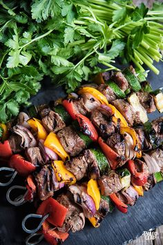 Beef Shish Kabobs - EASY! - #Paleo #EasyToMake #ShishKabobs       1 1/2 lbs. steak, cut into cubes;     1 red onion, diced;     1 bell pepper, diced;     1 zucchini, sliced;     2 tbsp. olive oil;     2 tbsp. Dijon Mustard;     1 tbsp. balsamic vinegar;     1 tsp. dried thyme leaves;     Sea salt and freshly ground black pepper;     Wood or metal skewers;