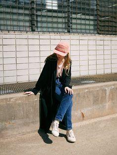 denim, jeans, black coat, shirt, cap.