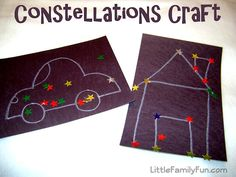 Constellation crafts! Love this!  For when I teach him about outer space!