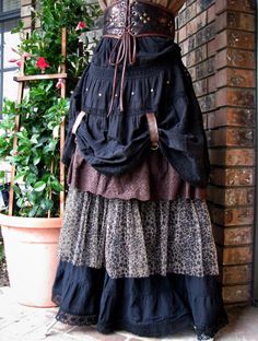 RESERVED for Garr2828 Steampunk Pirate Wench Renaissance Upcycled Black and Brown Layered Skirt Ready to Ship Size Medium