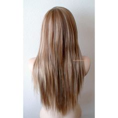 Brown/ blonde wig. Long straight layers hair long side bangs wig. ($140) ❤ liked on Polyvore featuring beauty products, haircare and hair styling tools