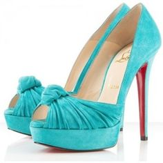Christian Louboutin Greissimo 140 Suede Knotted Pumps Turquoise