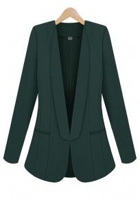 Green Plain Pockets Long Sleeve Flax Blend Suit