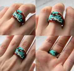 Ring made of Japanese delica seed beads. OOAK. Freeform peyote. Size - 9 (US)  -------More beaded rings from my shop you can see here:-------