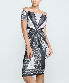 Another great find on #zulily! Off-White Lace-Print Off-Shoulder Dress #zulilyfinds