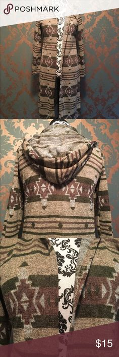 Hooded sweater cardigan/jacket Like new, worn once. Cute southwest patter . Light knit material, open cardigan style, with roomie hood. Marked size large but I believe it's juniors so it fits more like a medium. Macy's Jackets & Coats