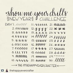 #Repost @thehappyevercrafter with @repostapp. Hi everyone! For the new year I am excited to announce that I am starting the #showmeyourdrills practice challenge! I myself need to practice these drills as much as anyone else and what better time than the beginning of a new year! At the same time I would love to share with all of you some short demo videos of each. Here are all of the prompts to follow for the first 30 days- fill a line a page a book whatever you want! I have reserved the 3...