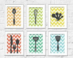 I want these so badly for my kitchen!! Kitchen Art Prints  Chevron Kitchen Set of 6 8X10 by TexturedINK, $48.00