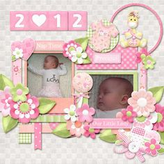 A beautiful digital scrapbooking baby girl layout that captures all of the sweetness and joy of your baby girl.  Digital scrapbooking layout created using Baby's Firsts Girl Collection from Nitwit Collections