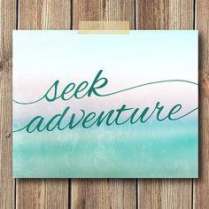Seek Adventure Art Print 8x10 Print Aqua Teal Blue by CheekySheep, $15.00